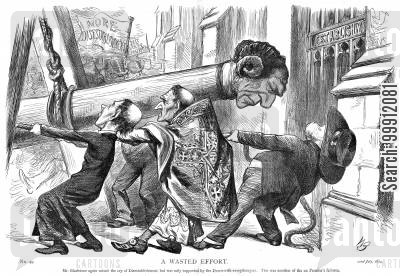 battering ram cartoon humor: Gladstone as a battering ram, calling for disestablishment