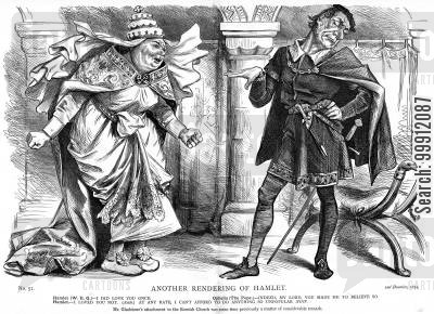 gladstone cartoon humor: Gladstone as Hamlet and the Pope as Ophelia