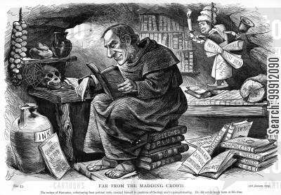 pope cartoon humor: Gladstone studying Catholic theology