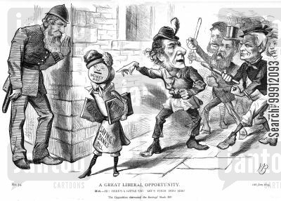 william gladstone cartoon humor: The Liberal oposition obstructing the Savings Bank Bill