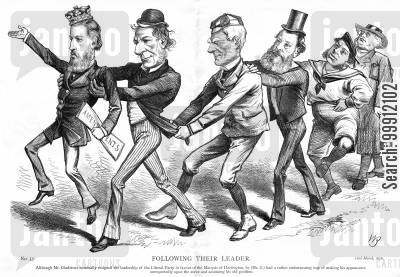 amendments cartoon humor: Gladstone carrying the Marquis of Hartingdon, the newLiberal leader
