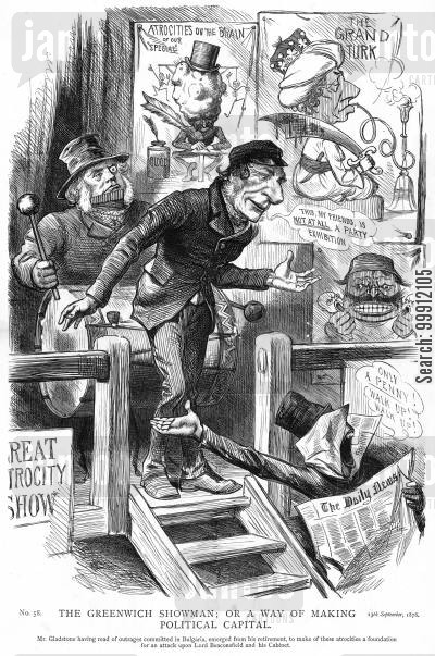 conservative cartoon humor: Gladstone using atrocities commited in Bulgaria to attack the Conservative Party
