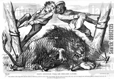 liberalism cartoon humor: The Liberal opposition hold down the Conservative lion in a net of 'party spite', 'treachery' and 'falsehood'