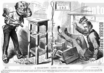 conservative cartoon humor: Gladstone having weakened the stool of Liberalism that his successor must sit on