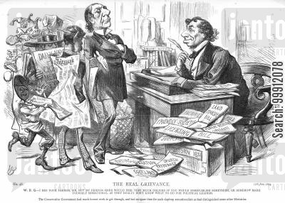 radicalism cartoon humor: Gladstone asking Disraeli to do something sensational to give the papers something to write about