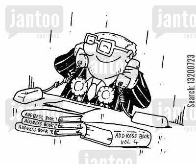 address book cartoon humor: Politician with lots of address books