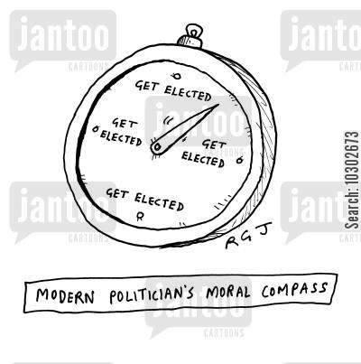 nomination cartoon humor: 'Modern politician's moral compass.'