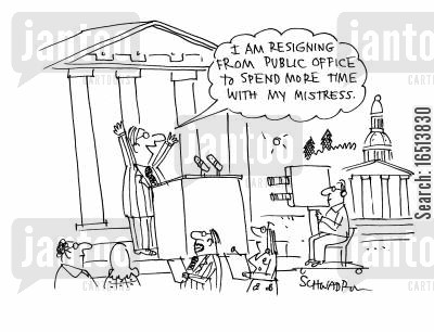 public offices cartoon humor: 'I am resigning from public office to spend more time with my mistress.'