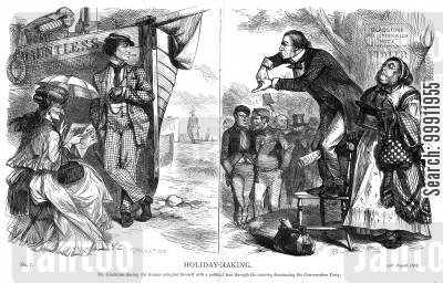 benjamin disraeli cartoon humor: Gladstone on a political tour denouncing the Conservative Party