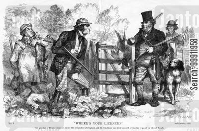 poacher cartoon humor: Gladstone accused of paoching on Church land, regarding his support of disestablishment