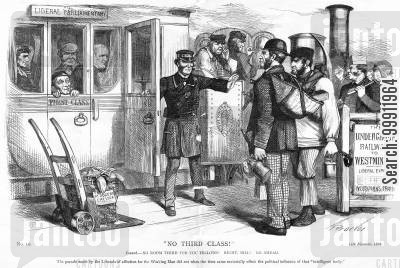 suffrage cartoon humor: Gladstone not allowing working men on his train