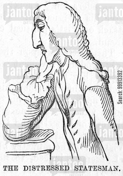 parliament cartoon humor: William Pitt - 'The Distressed Statesman'