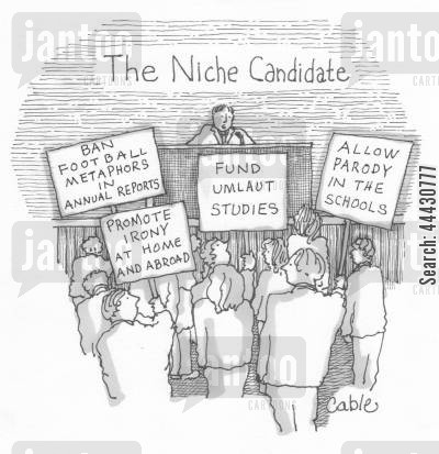 annual report cartoon humor: Niche candidate compaigning with signs show issues such as 'ban football metaphors in annual reports.'