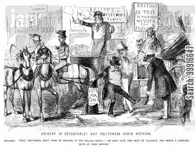 politeness cartoon humor: Bribery is detestable! But politeness costs nothing. - Canvasser offers two men a carriage to the polling booth