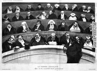 july monarchy cartoon humor: The Legislative Belly - View of the Ministerial Benches of the non-prostituted Chamber of 1834
