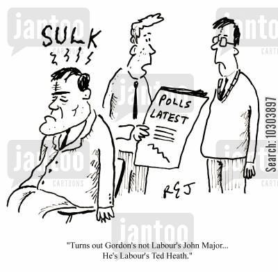 john major cartoon humor: 'Turns out Gordon's not Labour's John Major...he's Labour's Ted Heath.'