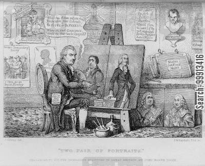 whig cartoon humor: Horn Tooke painting Pitt and Fox