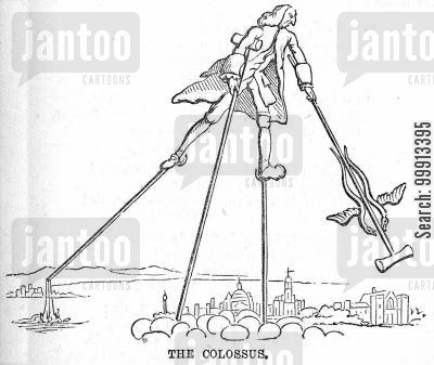 statesmen cartoon humor: William Pitt as 'The Colossus'