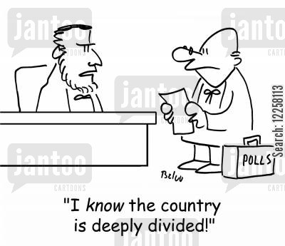 american civil war cartoon humor: 'I KNOW the country is deeply divided!'