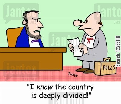 american civil war cartoon humor: POLLS, 'I KNOW the country is deeply divided!'