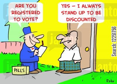 registered cartoon humor: 'Are you registered to vote?', 'Yes -- I always stand up to be discounted.'