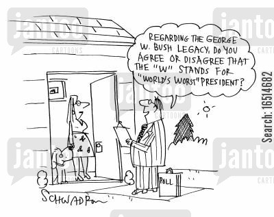 market research cartoon humor: 'Regarding the George W Bush Legacy, do you agree or disagree that the W stands for 'World's worst' president?'