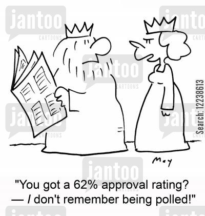 approval rating cartoon humor: 'You got a 62 approval rating? -- I don't remember being polled!'