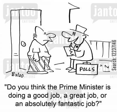 think biased vote cartoon humor: 'Do you think the Prime Minister is doing a good job, a great job, or an absolutely fantastic job?'