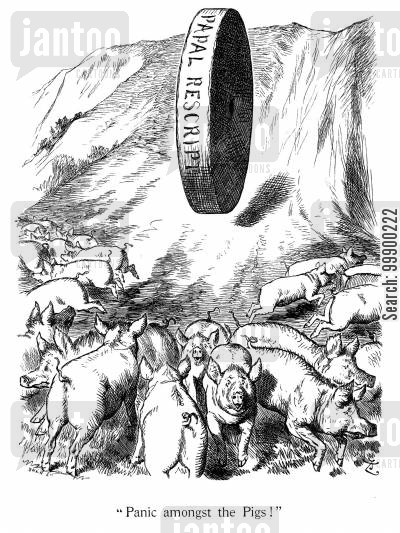 michael davitt cartoon humor: Papal Rescript against Irish Plan of Campaign