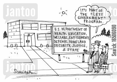 disillusionment cartoon humor: Department of Everything - 'It's part of the 'Less Government' Program.'