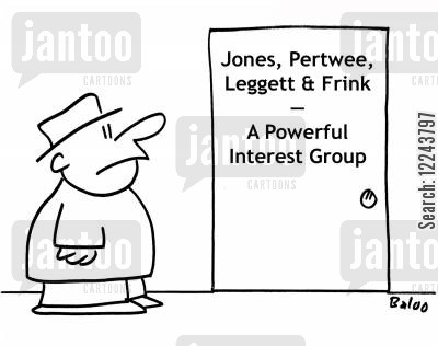 interest groups cartoon humor: Jones, Pertwee, Leggett and Frink - A Powerful Interest Group.
