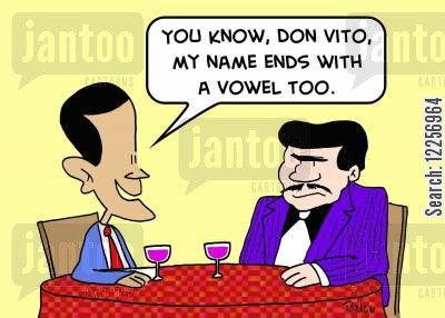 sicilian cartoon humor: 'You know, Don Vito, my name ends with a vowel too.'