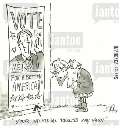 presidential race cartoon humor: 'Your individual results may vary.'