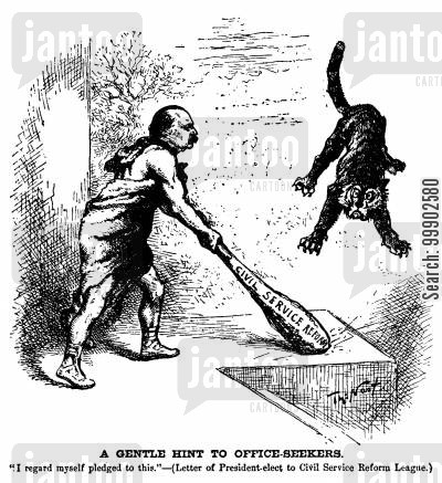 civil service reform cartoon humor: Grover Cleveland Committed to Civil Service Reform