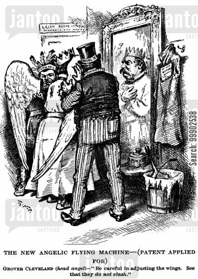 irving hall cartoon humor: Angelic Grover Cleveland Attempting to Unify Both Wings of the Democratic Party