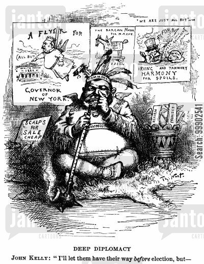 irving hall cartoon humor: Grover Cleveland as the Front for Corrupt Democratic Party