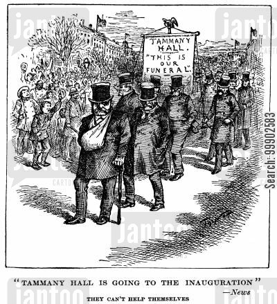 american civil service cartoon humor: President Cleveland's Inauguration, or the Funeral of Tammany Hall Corruption