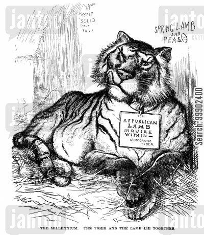 southern policy cartoon humor: Rutherford B Hayes' Policies Strengthening the 'Solid South'- Republican Lamb Devoured by Democratic Tiger