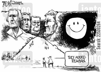 smily face cartoon humor: Reagan on Mt. Rushmore.