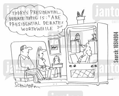 presidential debates cartoon humor: 'Today's presidential debate topic is: 'Are presidential debates worthwhile?'
