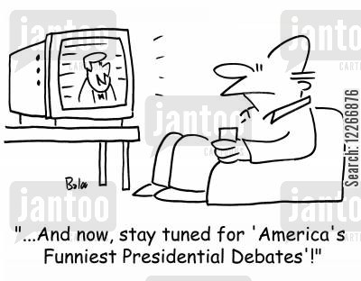 presidential debate cartoon humor: '...And now, stay tuned for 'America's Funniest Presidential Debates'!'