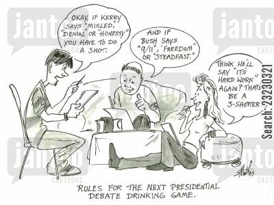 presidential debates cartoon humor: Rules for the next presidential debate drinking game.