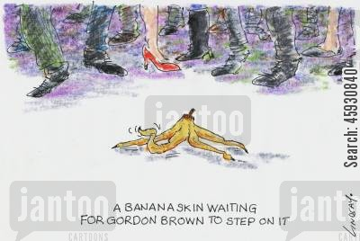 labour party cartoon humor: Banana skin waiting for Gordon Brown to stand on it.