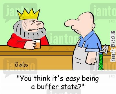 buffer state cartoon humor: 'You think it's EASY being a buffer state?'