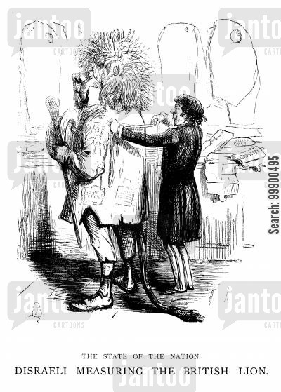 british lion cartoon humor: Disraeli's Actions After Repeal of the Corn Laws