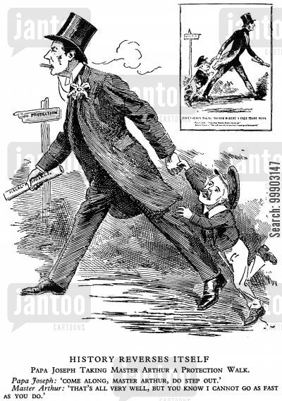 balfour cartoon humor: Joseph Chamberlain Atempts to Drag Arthur Balfour down the Road to Protectionist Imperial Tariff