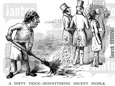 peelite cartoon humor: Disraeli Flings Dirt at Aberdeen's Peelite Ministry