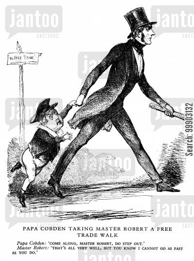 anti corn law league cartoon humor: 'Papa Cobden Taking Master Robert [Peel] A Free Trade Walk'