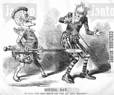 neutral cartoon humor: Mr. Punch offering Uncle Sam war or peace