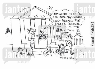 qualifies cartoon humor: 'I'm qualified to deal with any traumatic event because I've raised five children.'